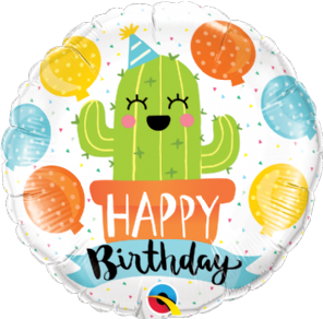 Happy Birthday Cute Party Cactus Foil Helium Balloon